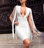 Sofía White V Neck Fringe Bandage Dress