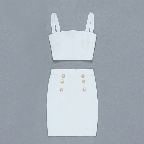 Halle White Two Piece Bandage Dress