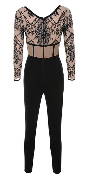 Mayla Black and Nude Lace Bandage Jumpsuit