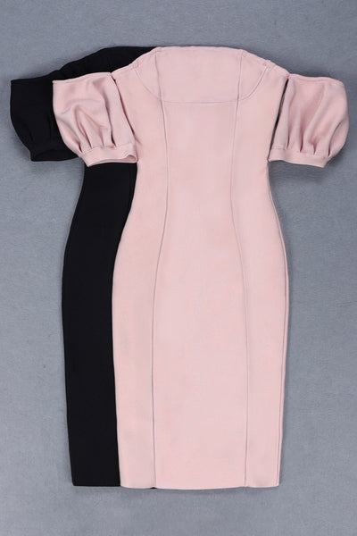 Winona Pink Puff Sleeve Bandage Dress
