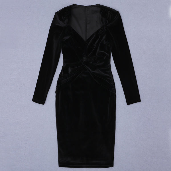 Arabella Black Long Sleeve Midi Velvet Dress