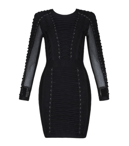 Naiara Black Bandage Dress with Lace Up Details