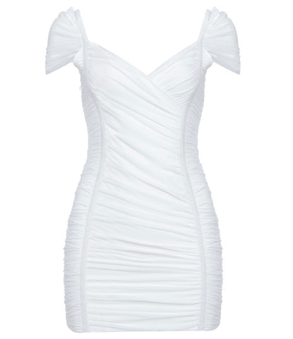 Ophelia White Short Sleeve Mini Party Bandage Dress With Mesh
