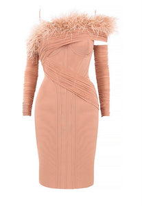 Violet Peach Long Sleeve Bardot Midi Dress