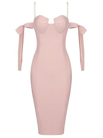 Annalise Pink Spaghetti Strap Pearl Chain Midi Party Dress
