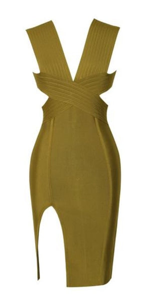 Viola Cut Out Green Bandage Dress