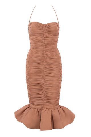 Aurora Halter Tied Neck Brown Ruffles Mid-Calf Dress