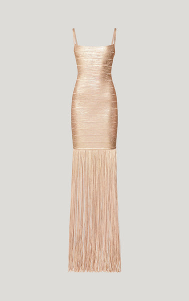 Abril Gold Sleeveless Tassel Design Maxi Dress