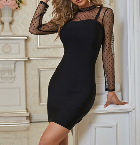 Zelda Black Mesh Mini Long Sleeve Bandage Dress