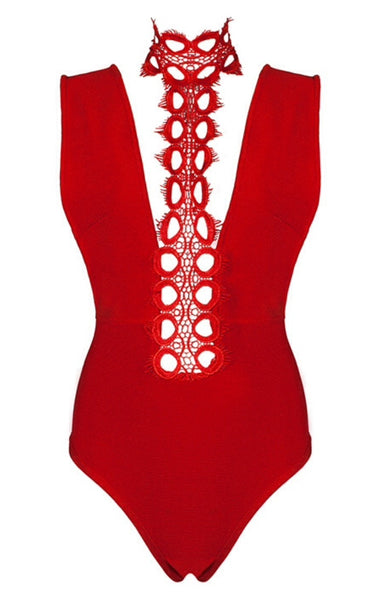 Rosabel Red Halter Bodysuit