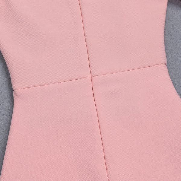 Nevaeh Pink Off Shoulder Midi Bandage  Dress