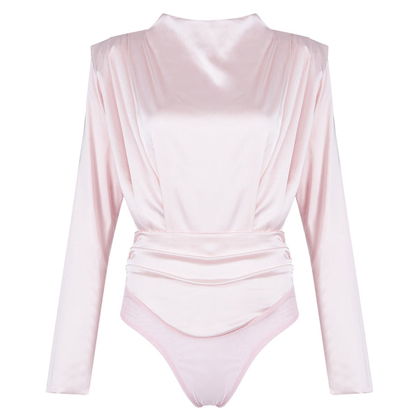 pink satin long sleeve bodysuit, women's tops