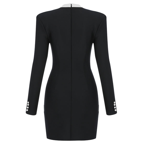 Zoe Long Sleeve Button Detail Mini Dress- Black White