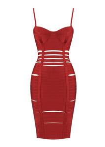 Gaile Rust Bustier Cut Out Bandage Dress
