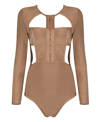 Brynn Brown Zip Front Bodysuit