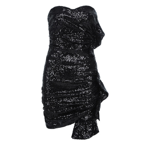 Kaori Black Strapless Sequins Two Piece Dress Set