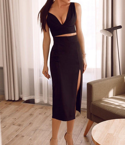 Chana Black Two-Piece Dress Set