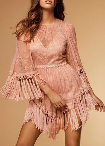 Hélène Pink Mesh Long Sleeve Tassel Dress