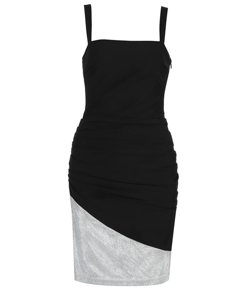 Everly Black Silver Strap Mini Dress with Ruched Detail
