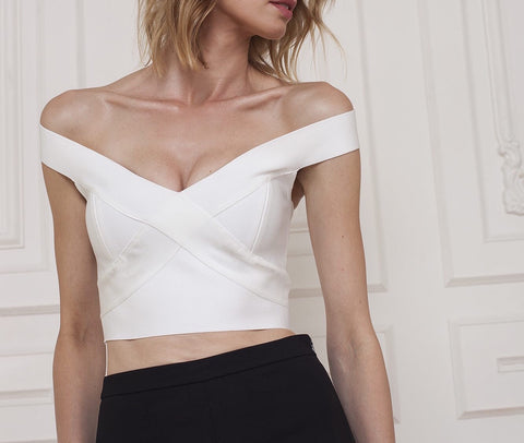 Skylar White Off Shoulder Open Back Top