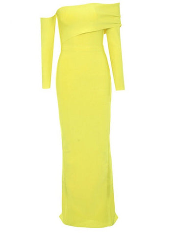 Navi Yellow Off Shoulder Long Sleeve Bandage Dress
