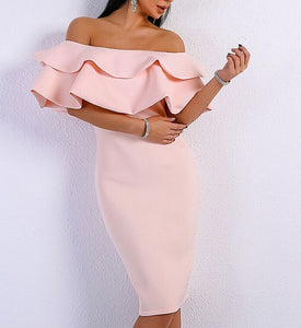Sayani Pink Ruffle Off Shoulder Dress