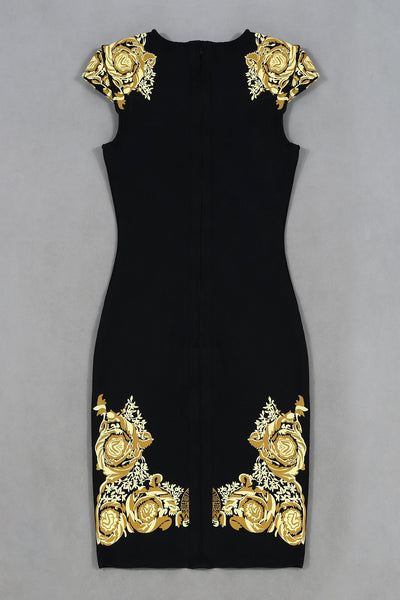 Lvi Gold Black Mini Bandage Dress