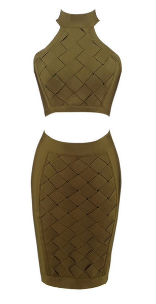 Isela Green Two Piece Bandage Dress