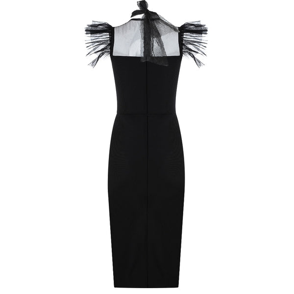 Aurora Black Sleeveless Mesh Midi Dress