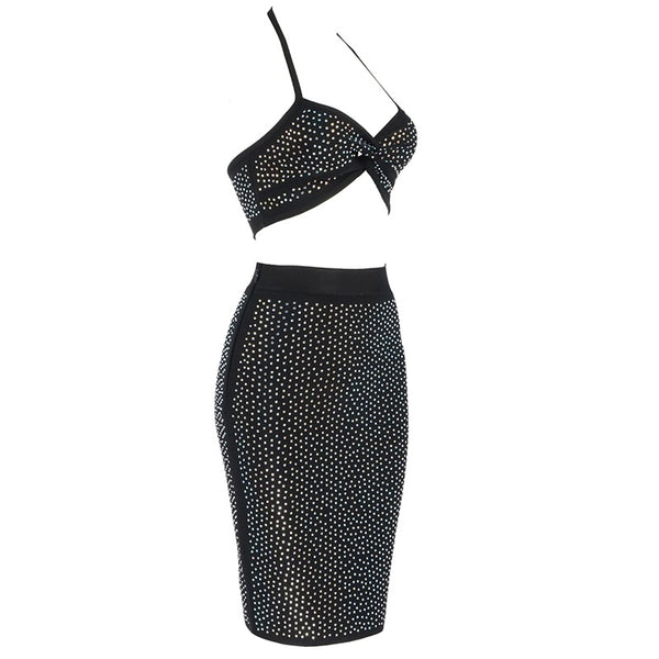 Máirin Sleeveless Mini Rhinestone Two Piece Dress