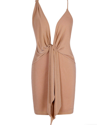 Amara Brown Halter Mini Dress