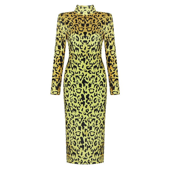 Reeah Yellow Leopard Long Sleeve Midi Dress