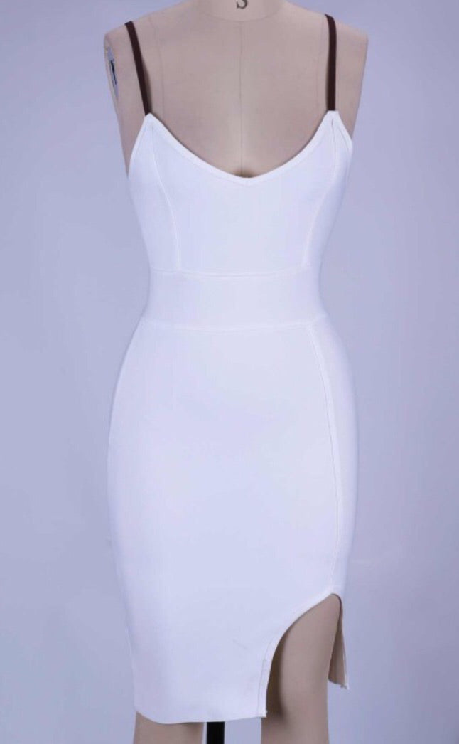 Gisela Sexy White Bandage Dress