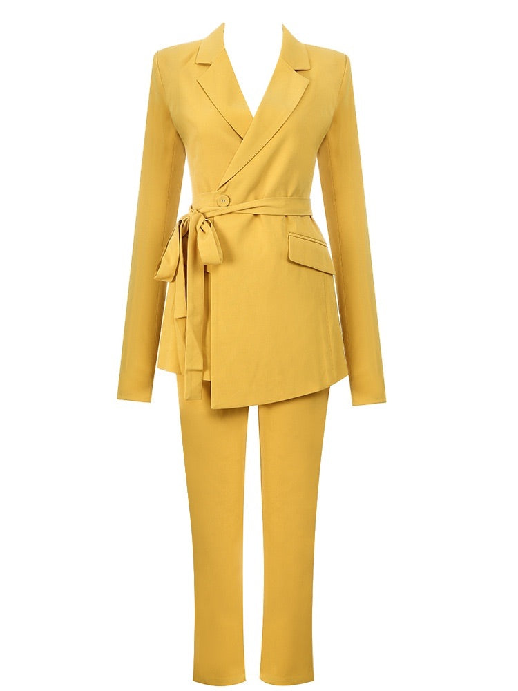 Emery Yellow Two Piece Suit Set