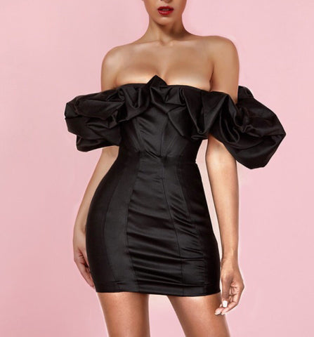 Finley Black Satin Strapless Mini Dress