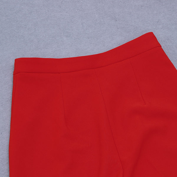 Gianna Red V Neck Long Sleeve Plain Pants Set