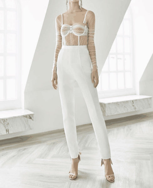 Dulce Lace Top Long Sleeve Strap White Jumpsuit
