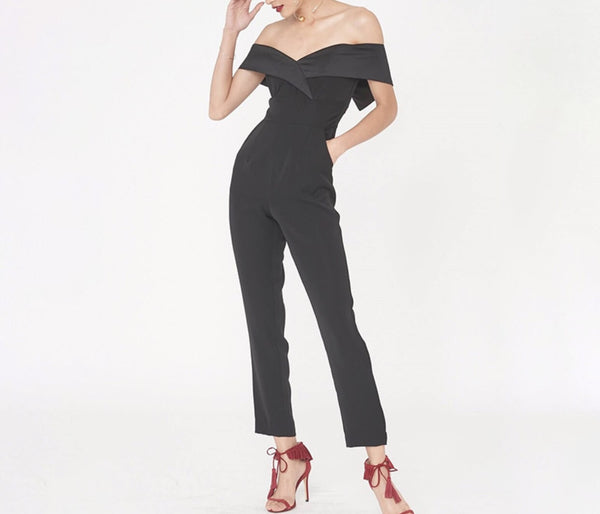 Anira Black Off Shoulder Jumpsuit
