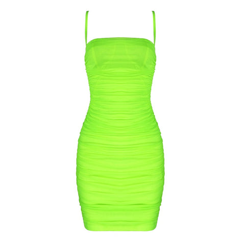 Galia Green Spaghetti Strap Mini Mesh Dress