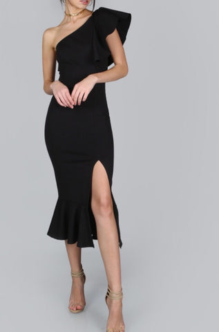 Angela Black One Shoulder Ruffle Bandage Dress