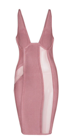 Jihan Pink Mesh Bandage Dress