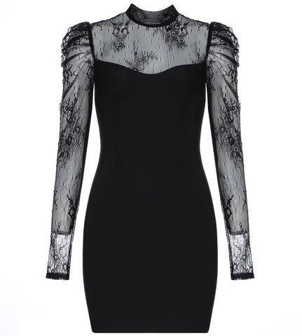 Rory Black Lace  Long Sleeve Bandage Dress