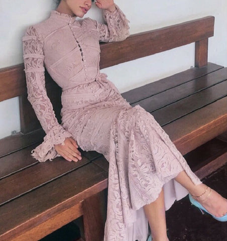 Blanca Pink Lace Long Sleeve Mermaid Dress