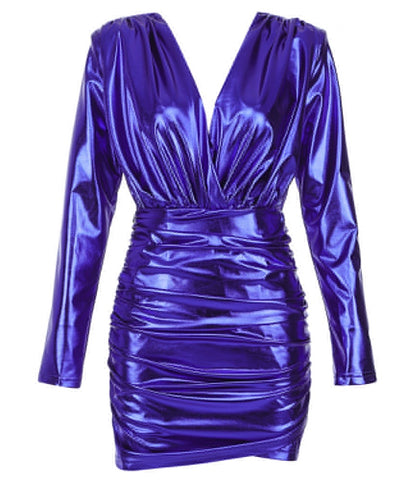 Mila Blue Long Sleeve Mini Metallic Dress