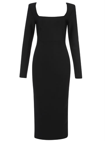 Finley Black Square Neck Long Sleeve Midi Dress