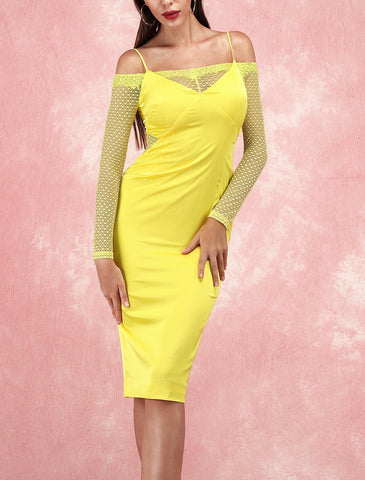 Kamiyah Long Sleeve Yellow Satin Lace Party Dress