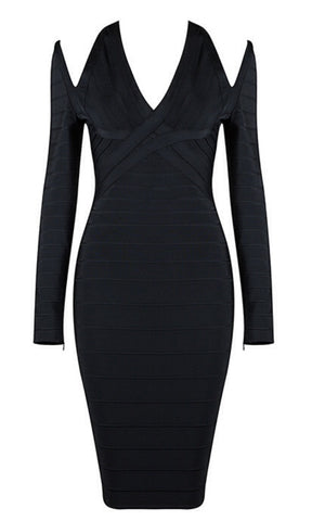 Hilary Black Midi Bandage Dress