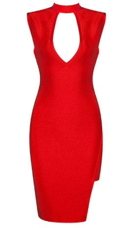 Akua Red Asymmetric Bandage Dress