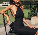 Bailey Sexy Backless Black Midi Dress