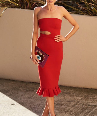 Alyssa Red Cut Out Fluted Hem Bandage Dress